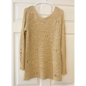 UO Staring at Stars Distressed Crochet Sweater